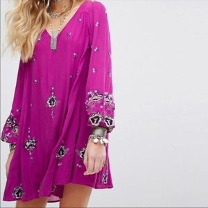 Free People Oxford Embroidered Boho Lilac Dress